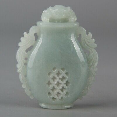 Chinese Exquisite Hand-carved toad Carving jadeite jade snuff bottle