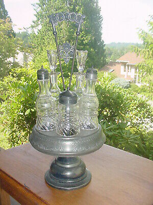 Old Antique Victorian Silverplate 5 Piece Cruet Set Revolving Base