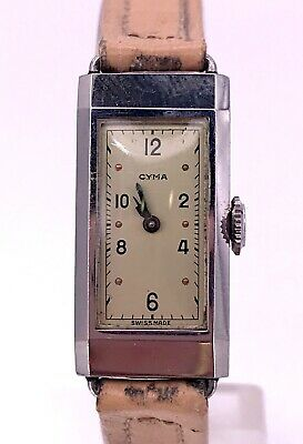 NOS Cyma Vintage Hand Manual Art Deco Watch Doesn'T Battery Operated Rope 13,5