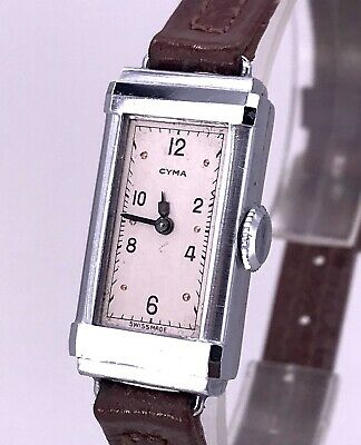 NOS Cyma Vintage Hand Manual Art Deco Watch Doesn'T Works Watch Rope 13,5 mm 3WC