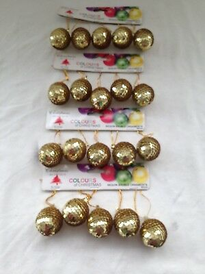 4 x 5 pack Christmas tree hanging ornament sequin bauble in gold 4cm