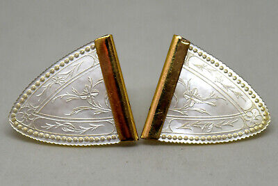 Antique Chinese 14K Solid Gold and Hand Carved Mother of Pearl Earrings