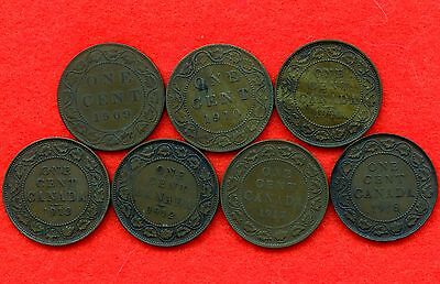 7 Canada Large Cents 1909, 1910, 1911, 1912, 1912, 1917 & 1918