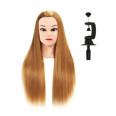 """Salon Real Human Hair 24"""" 60cm Hairdressing Training Mannequins Head with Clamp"""