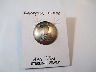 Vintage Sterling Silver hat pin Canyon Cross Hand Stamped Southwest estate