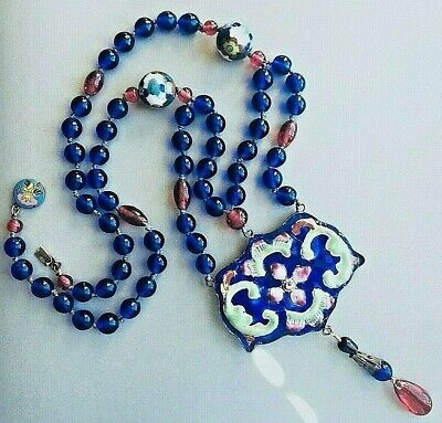 Atq CHINESE Large ENAMELED PUFFY PENDANT Blue Cobalt PEKING GLASS Bead NECKLACE