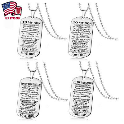 Mens Stainless Steel Tag To My Son Daughter Pendant Necklace Family Gifts Chain