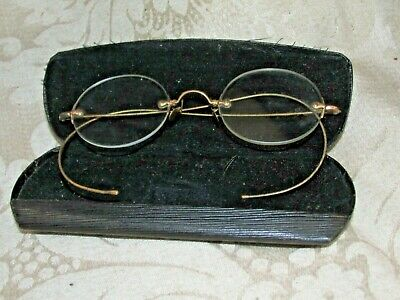 Antique Gold Framed Eye Rimless Spectacles & Case P Peters North Carlton