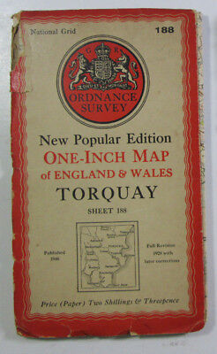 1946 Old Vintage OS Ordnance Survey One-inch New Popular Edition Map 188 Torquay