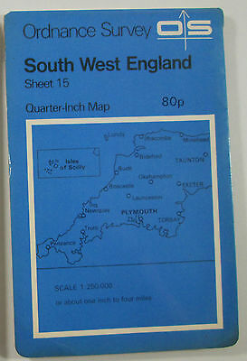 1974 old vintage OS Ordnance Survey quarter-inch map sheet 15 South West England