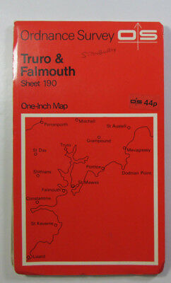 Vintage 1966 OS Ordnance Survey One-Inch Seventh Series Map 190 Truro & Falmouth