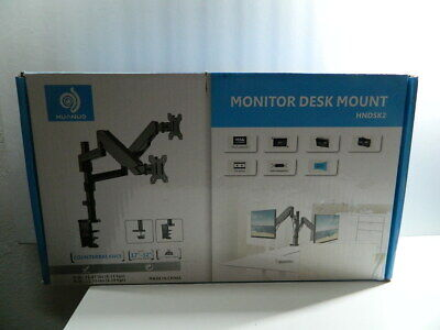 HUANUO HNDSK2 Dual Arm Gas Assisted Computer Monitor Mount (Black)