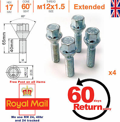 BMW 5 Series Tapered Seat 4x M12 x 1.5 40mm Extended Wheel Spacer Bolts