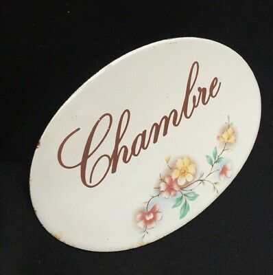 French White Enamel Chambre Bedroom Plate Plaque Flower Floral Design France