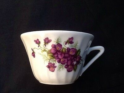 Vintage French Coffee Cup Floral Pattern Art Deco Style Purple Flowers Country