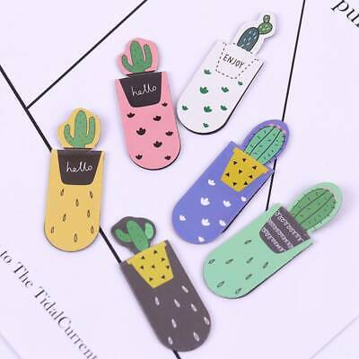 3pcs/Pack Cactus Magnetic Bookmarks Book Marker of Page Paper Clip School Office