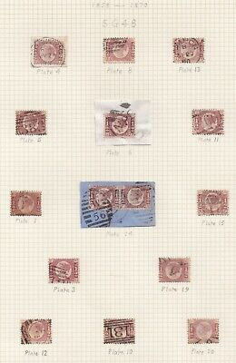 Lot:31111  GB QV  SG48 1/2d red plate selection on album page