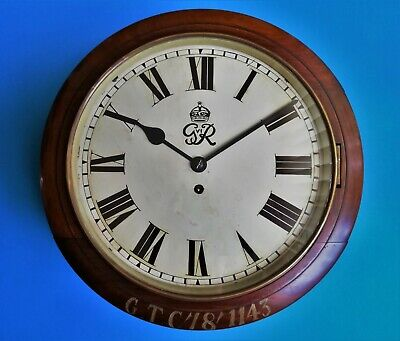#015 Antique 1937 Grv1 Military/Government Mahogany Chain Fusee Dial Wall Clock