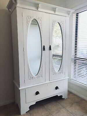 Solid Vintage Antique Wardrobe. Ornate Hand Carved Doors. Closet. Armoire. White