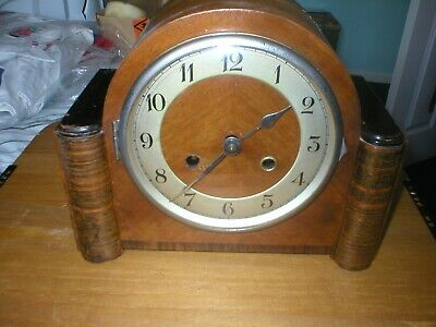 Oak Cased Vintage Mantel Clock With R.b Stamped On Movement