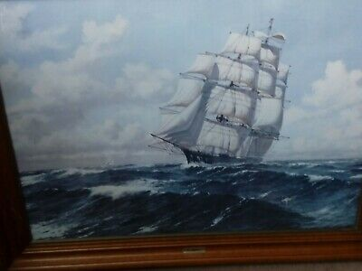 """Large Sailing Ship - """"The Jepson"""" print in decent Pine frame"""