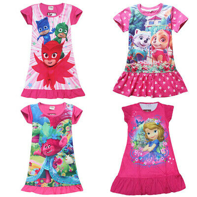 NEW Girl Pyjamas Pajamas Paw Patrol Trolls PJ Mask Sofia Nightie Dress 3-8 Years