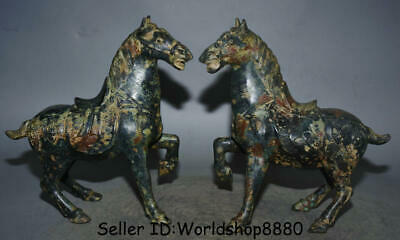 "11.2"" Antique Old Chinese Bronze Ware Dynasty Running War Horse Statue Pair"