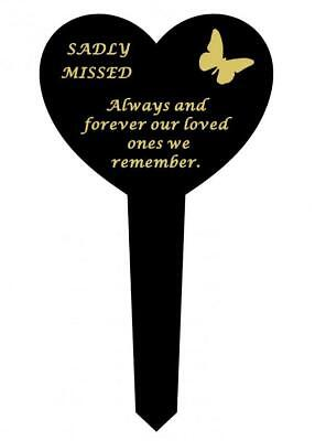 Sadly Missed Black & Gold Plastic Memorial Heart Butterfly Stake Graveside Spike