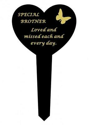Brother Black & Gold Plastic Memorial Heart Butterfly Stake Graveside Spike