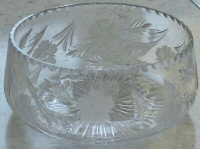 Heavy Vintage Royal Brierley Lead Crystal Cut Glass Fruit Bowl Etched Flowers