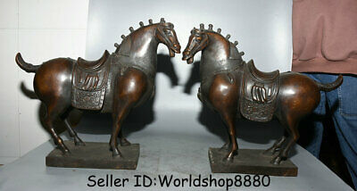"14.4"" Old Chinese Purple Bronze Dynasty Palace Tang Horse fine horse Statue Pair"