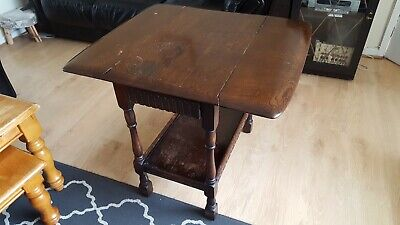 1950's PRIORY  DARK OAK DROP LEAF HALL / OCCASIONAL TABLE, FORMALLY TEA TRO..