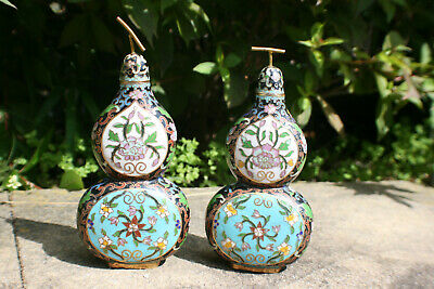 2 Pcs Chinese Bronze Cloisonne Double Gourd Vase Bottle with Lid