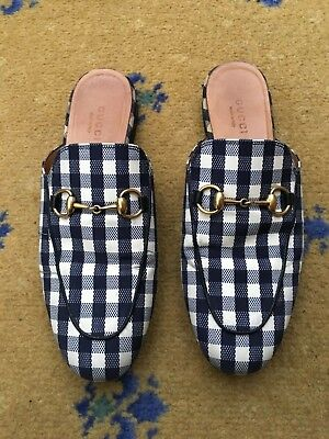 f2e80fa11b GUCCI WOMENS SHOES Gingham Princetown Loafer Slipper UK 3 US 5 EU 36 Mule  Ladies