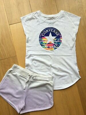 Girls Converse T-shirt Age 10-12 Years with Lilac Shorts