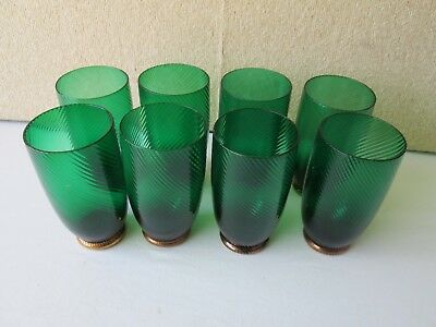 "Set 8 Forest Green Swirl Ribbed GOLD feet 5.75"" tall Glasses Tumblers Vintage"