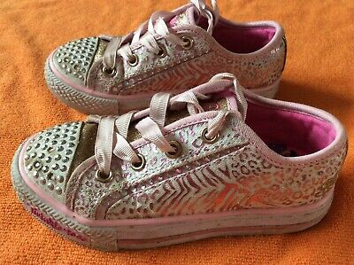 Kids girls Skechers twinkle toes lights trainers shoes size 10.5