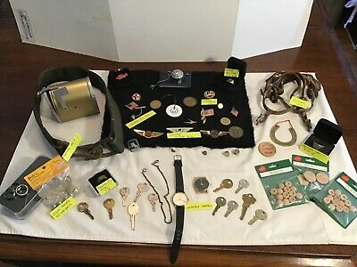 Estate Vintage Mens Junk Drawer Lot Jewelry Military Fish Safety Belt