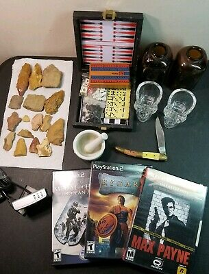 Misc. Junk Drawer Lot. Knife, Games, Crystal Skull Shot Glasses, etc. #R71