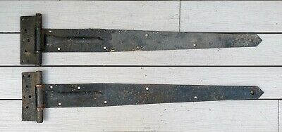 "Antique Pair Hand Forged Iron Extra Large 40.5"" Barn Door Hinges w/ Straps 1910"