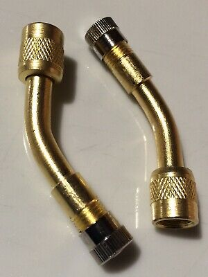 2 X Truck Car Bike Motorhome Tyre Valve Extension 140 Degree Angle Brass