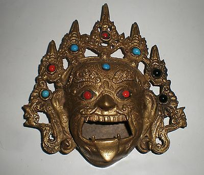 Antique wall mask / burner from Burma, bronze / brass