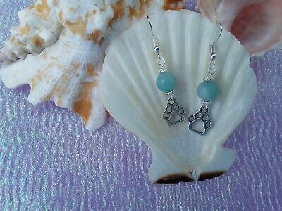 Paw print silver plated charm and Amazonite bead handmade earrings