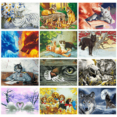 KF_ Animal Paint By Number Kit DIY Acrylic Oil Painting On Canvas Art Decor No