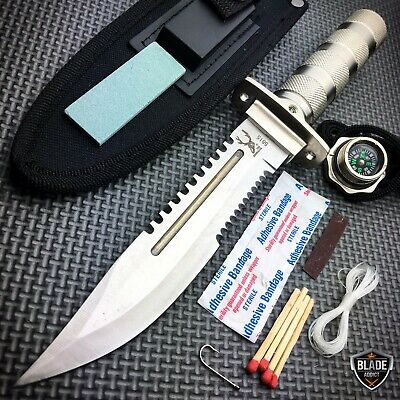"11"" Tactical Fishing Hunting CAMPING Knife FIXED BLADE Bowie + Survival Kit C"