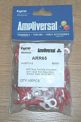 100 Red Ring Terminals, Insulated, 6mm Stud Size