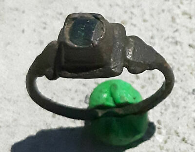 Ancient bronze Ring  with green stone