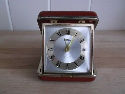 Vintage Red Coral Travel Clock Date & Alarm Made Japan Sold for Spares/Repairs