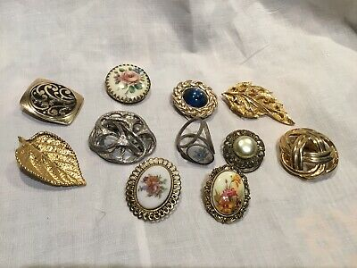 Mixed Job Lot Vintage Scarf Clips / Rings X 11
