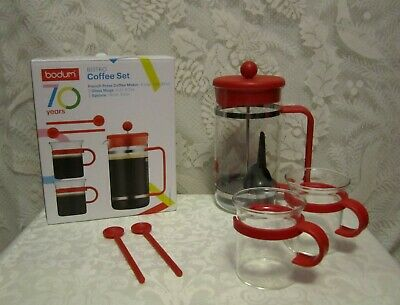 Bodum Bistro 5-Piece Coffee Set 8-Cup French Press 70th Anniversary Red N/W Box